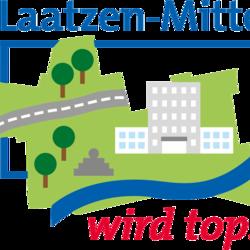 Logo mit stilisierten Häusern, Bäumen und Gewässern