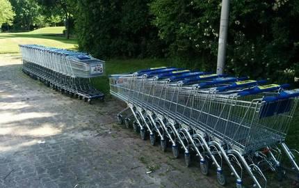 Eine Reihe von Einkaufswagen im Stadtgebiet
